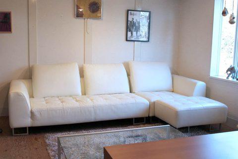 IDC大塚家具  LS Comfort コンフォート カウチソファ 3人掛け 総本革 ホワイト
