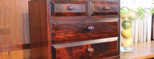 松本民芸家具|凸面小抽出 引出し 3段4杯収納