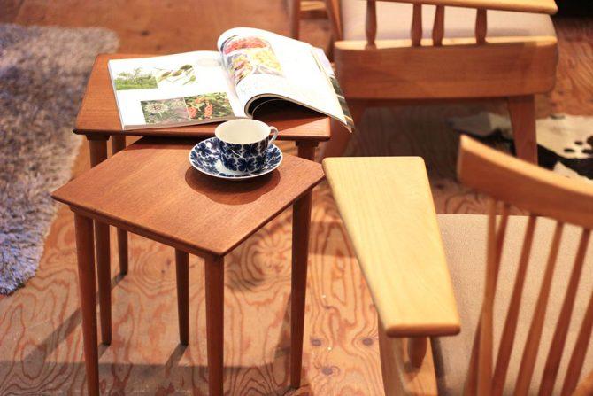 北欧デンマーク|ネストテーブル チーク材 ヴィンテージ