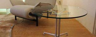 ハーマンミラー ラフォンダベース・ガラス丸テーブル イームズ
