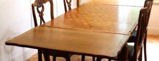 フランスアンティーク ドローリーフテーブル+猫足チェア